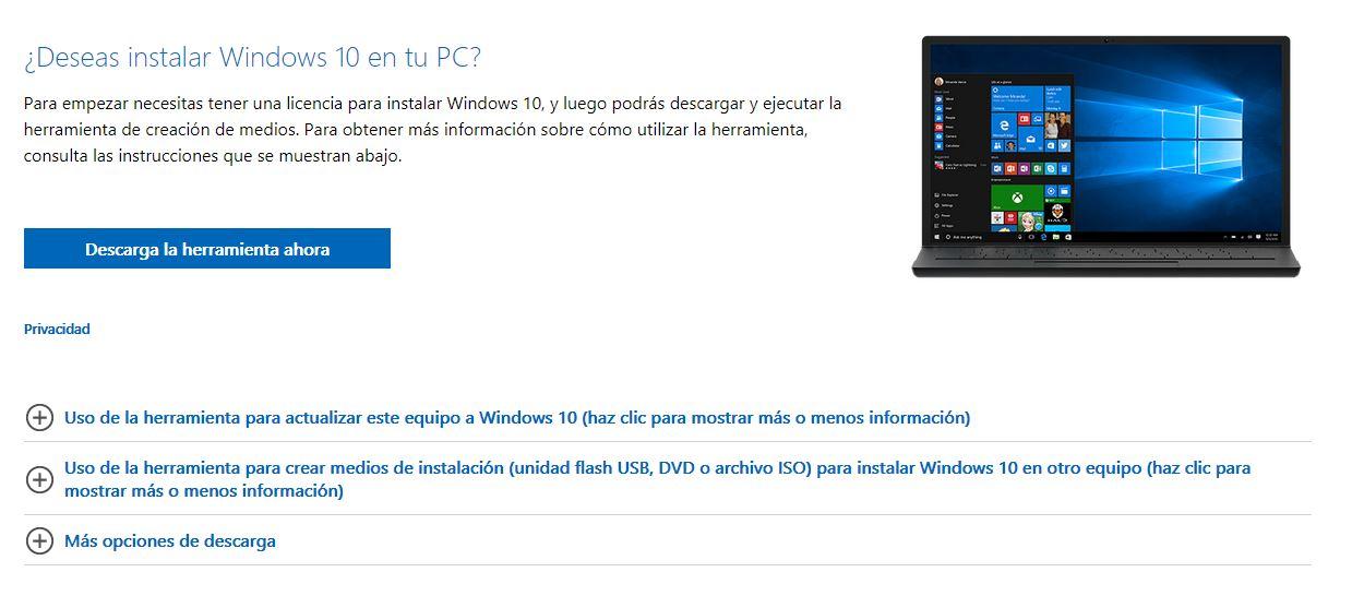 Descargar Windows 10 gratis en español 32 y 64 bits USB
